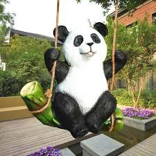 the koala panda statue garden ornaments animal sculpture crafts decorative outdoor garden rockery decoration resin swing