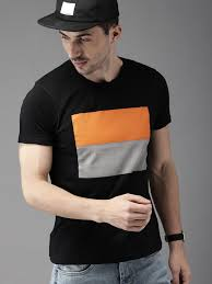 Buy HERE&NOW <b>Men</b> Black <b>Printed Round</b> Neck T Shirt - Tshirts for ...