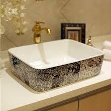 rectangular blue and white jingdezhen ceramic sink wash basin ceramic counter top wash basin bathroom sinks countertop sink