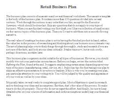 Retail Business Plan Outline Business Plan Sample Retail Store