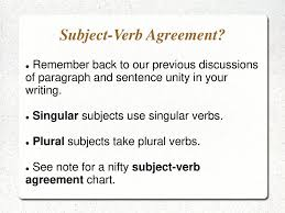 Subject Verb Agreement Chart Subject Verb Agreement Ppt Download