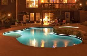 inground pools at night. Free Form Pool At Night With Led Lights Inground Pools