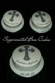 Baptism Christening Cake Elegant Simple Design With Cross And
