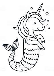 Schattig Unicornvector Van De Zeemeermin Kleurplaten Pagina Cartoon