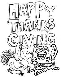 Small Picture Spongebob Loves Turkey Thanksgiving Coloring Page H M Coloring