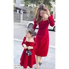 SET váy nhung thiết kế mẹ và bé gái cổ vuông tay bồng phối nhũ vai Mẫu mới  2021 tốt giá rẻ