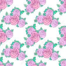 fl decorative colorful bright wallpaper with cute roses seamless pattern on white background stock
