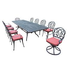 11 piece aluminum outdoor dining set with red cushions