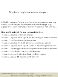 Top 8 mep engineer resume samples In this file, you can ref resume  materials for ...