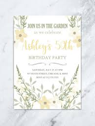 Floral 50th Birthday Invitation For Women Any Age Printable