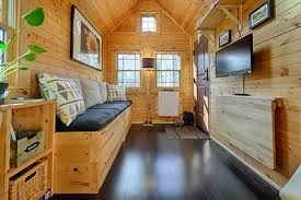natural wood background in a tiny home living room