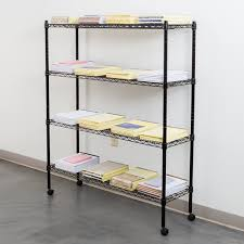 360 office furniture 14 x 48 black wire shelving unit with 54 posts and casters