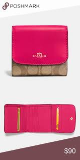 ... LOWEST FIRMCoach signature bright pink wallet Boutique Coach signature  pave heart charm large ...