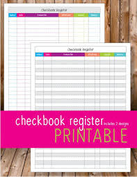 Checkbook Register Printable Organize Finances Budget Printables