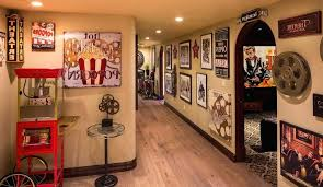 themed room themed room hall eclectic with industrial side tables and end theater themed room decor