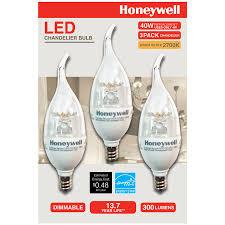 honeywell b11 candelabra chandelier led light bulbs 40w equivalent dimmable 3 pack b114027hb320