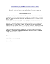 Employment Reference Template Employee Recommendation Letter For College With Work