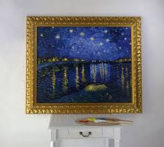 framed oil painting hand painted oll on canvas reion starry night over the rhone by vincent