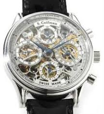 18k white gold watch s coifman 18k white gold automatic skeleton chronograph swiss made mens watch