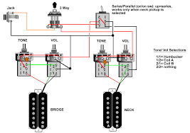 guitar wiring tips tricks schematics and links coil select series parallel uses 4 push pull pots and one mini toggle for lp type guitars requires adding mini toggle