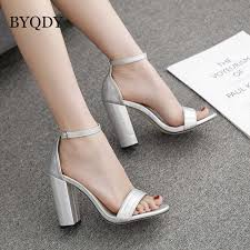 <b>BYQDY</b> Big Size 41 42 <b>Women</b> Sandals PVC Jelly Crystal Heel ...