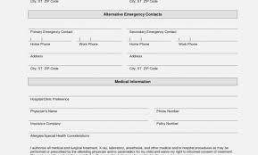 Emergency Contact Forms For Children Printable Emergency Contact Form Template Daycare Forms Form