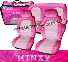 car seat covers minxy pink white plush velour fur style full car seat covers set