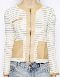 striped leather trim jacket by love zooey 235