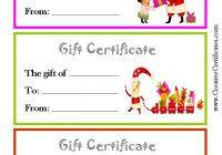 Printable Christmas Certificates Free Printable Christmas Gift Certificate Templates Best Samples 78