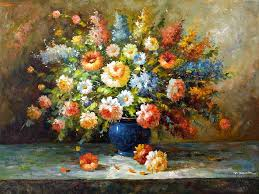 fl impression oil painting of flowers