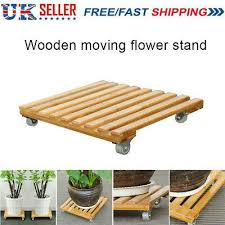 bamboo movable plant pot trolley tray