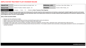 Plant Engineer Resumes Water Treatment Plant Engineer Cover Letter Resume 131520