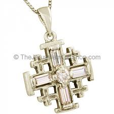 pendant with crystal cross design zoom