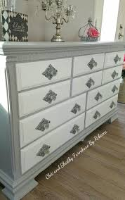 gray and white dresser. Knob View Of The Out Dated Dresser Gray And White Rustoleum Chalk Paint Silver Sprayed Bottom Then Crystal Glass Pull Love Inside