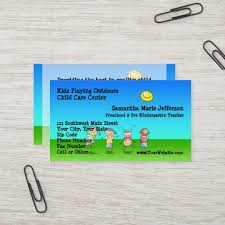 Kids Playing Outdoors Child Care Childcare Centre Business Card
