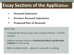 proposal development team office of research sponsored projects  4 essay sections of the applica tion 4  personal statement  previous research experience  proposed