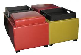 image of red yellow and black color cube leather ottoman tray table