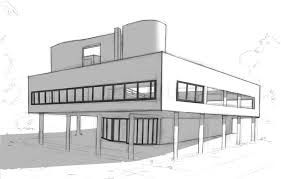 modern architectural sketches. Fine Architectural Designed By Swiss Architects Le Corbusier And Pierre Jeanneret With Modern Architectural Sketches