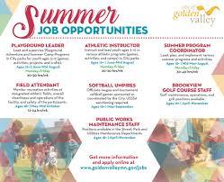 City Of Golden Valley Mn Summer Job Opportunities P Rcatalog Ad