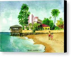 restaurant on pier pink hotel water beach man kids canvas print featuring the painting la playa