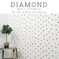 a diamond wall stencil pattern for the an accent wall the black and white wall