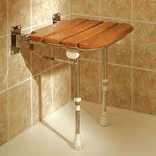 wooden slatted shower seat with legs
