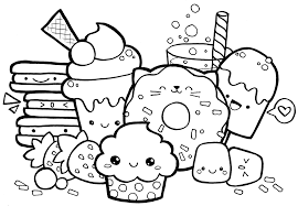 Useful Food Colouring Pages Cute Kawaii Coloring Home Valence Food