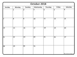 Calendar Doc Printable October 2018 Calendar