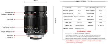 7artisans 28mm F 1 4 Lens For Leica M Mount Specifications