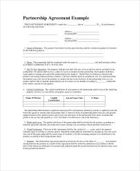 Example Of An Agreement Partnership Agreement Example Business Proposal Sample