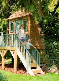 childrens garden tree house staircase