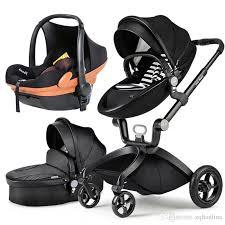 fashion highlandscape pu leather baby stroller pushchair egg shaped white pram baby child shock 4 wheels children trolley baby carriage