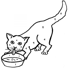 Printable Cat Drinking Milk Coloring Page For Preschoolers