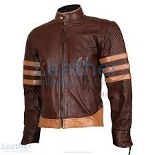 x men wolverine origins brown biker leather jacket front view